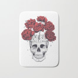 Skull with peonies Bath Mat