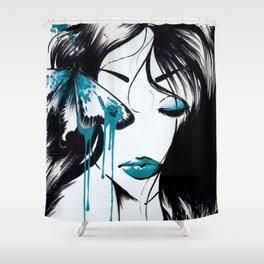 Blue Butterfleye - original Shower Curtain