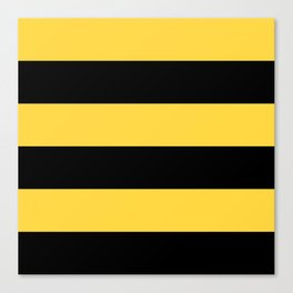 Even Horizontal Stripes, Yellow and Black, XL Canvas Print