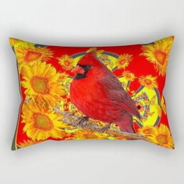 RED CARDINAL SUNFLOWERS ON CREAM ART Rectangular Pillow