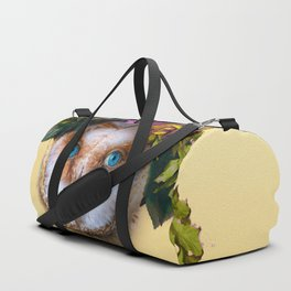 Lady Owl with Head Flowers Bouquet Duffle Bag