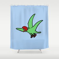 roller derby Shower Curtains featuring Roller Derby Pterodactyl by Jez Kemp