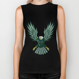 Bald Eagle Swooping Wing Spread Isolated Retro Biker Tank