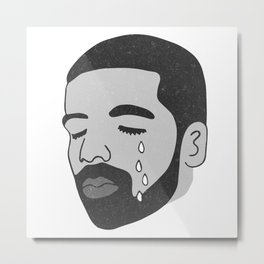 drake crying (b&w) Metal Print