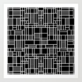 Map Lines Black Art Print