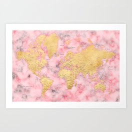 Gold and pink marble world map Art Print