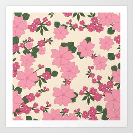 Flowers, Petals, Leaves, Blossoms - Pink Green Art Print