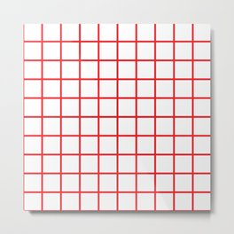Red Grid Pattern Metal Print
