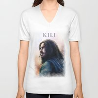 kili V-neck T-shirts featuring Kili (The Hobbit) by Grazia Vincoletto