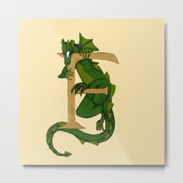 Oscar the Dragon Letter F Sans Roses Metal Print
