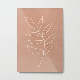 Engraved Leaf Line Metal Print