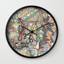Mint and Apricot Classic Zendoodle Wall Clock