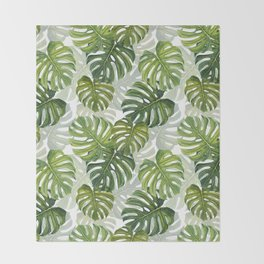 Tropical Monstera Leaf Pattern Throw Blanket