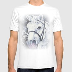 Pale White Horse White Mens Fitted Tee MEDIUM