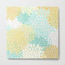 Floral Prints, Mint Green and Yellow, Modern Print Art Metal Print