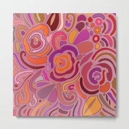 Rose fragments, pink, purple and orange Metal Print