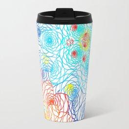 Bright Floral Orange and Blue Doily Lace Spring Digital Illustration Travel Mug
