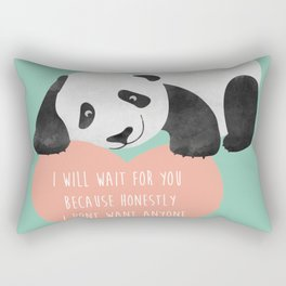 Panda Loving Heart - I will wait for you because honestly I dont want anyone else - Happy Valentines Rectangular Pillow