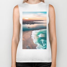 Sky view for the beach in the sunset Biker Tank