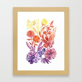 Floral abstract and colorful watercolor illustration Framed Art Print