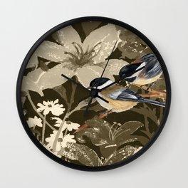 Bird-Chickadees with Lillies Wall Clock
