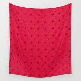 Burgundy Red on Crimson Red Snowflakes Wall Tapestry
