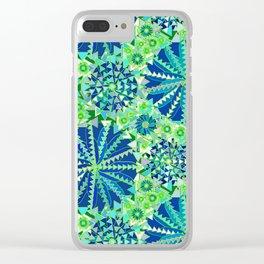 Tribal Mandala Print, Cobalt Blue and Green Clear iPhone Case