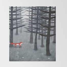 The Fox and the Forest Throw Blanket