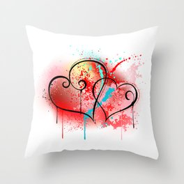 Sloppy Heart Drawing Throw Pillow