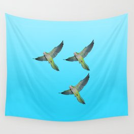 Flying parakeets Wall Tapestry