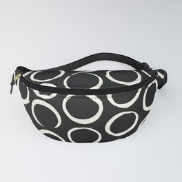 Polka Dots Circles Tribal Cream on Black Fanny Pack