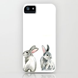 baby rabbit sister watercolor painting  iPhone Case