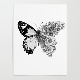 Butterfly in Bloom Poster