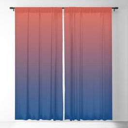 Pantone Living Coral & Turkish Sea Blue Gradient Ombre Blend Blackout Curtain