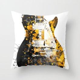 Guitar music art gold and black #guitar #music Throw Pillow