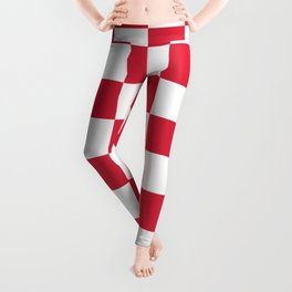 Red, Cherry: Checkered Pattern Leggings
