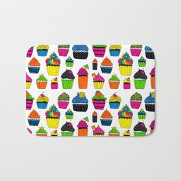 Happy Neon Cup Cakes Bath Mat