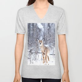 Deer In Snow Unisex V-Neck