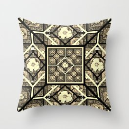 Cherokee Rose Pattern 1 black and white Throw Pillow
