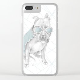 Laïka en Orbite (LG-bleu-03) Clear iPhone Case