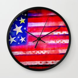 Grunge American Flag Wall Clock