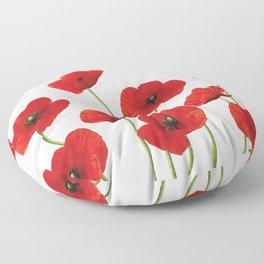 Poppies Field white background Floor Pillow