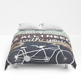 """A bicycle built for two is all I need with you""  Comforters"