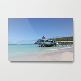 Tropical Paradise Pier on Antigua Metal Print