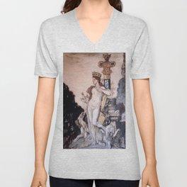 """Gustave Moreau """"Fée aux griffons (grisaille)"""" Unisex V-Neck"""