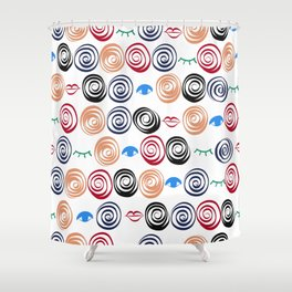 Swirling Artistic Pattern With Eyes, Lashes and Lips Shower Curtain