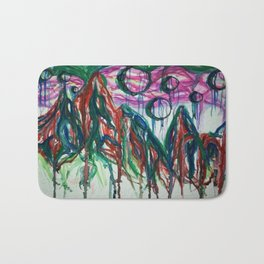 Abstract Mountain Milkyway Acrylic and Watercolor Painting Bath Mat