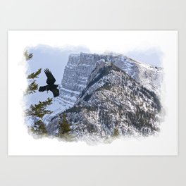 Mt Rundle & Raven (Canadian Rockies) Art Print