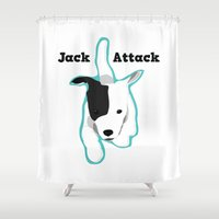 "jack russell Shower Curtains featuring ""Jack Attack"" Running Jack Russell Terrier  by Unionjackrussells"