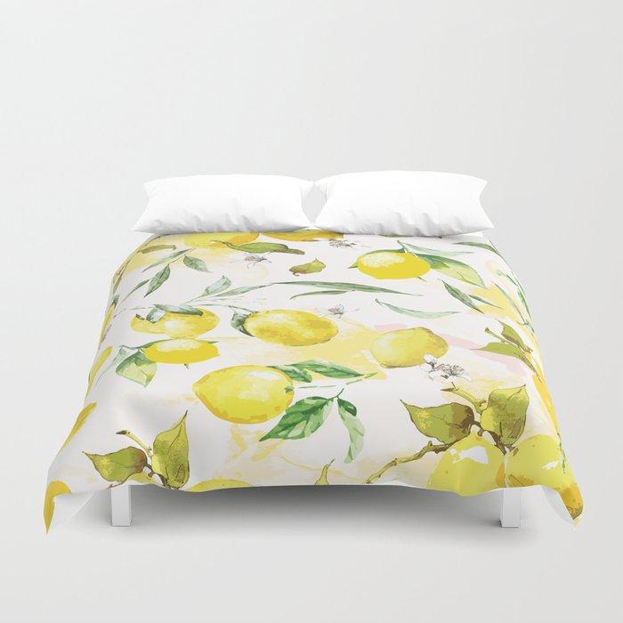 Watercolor lemons Bettbezug